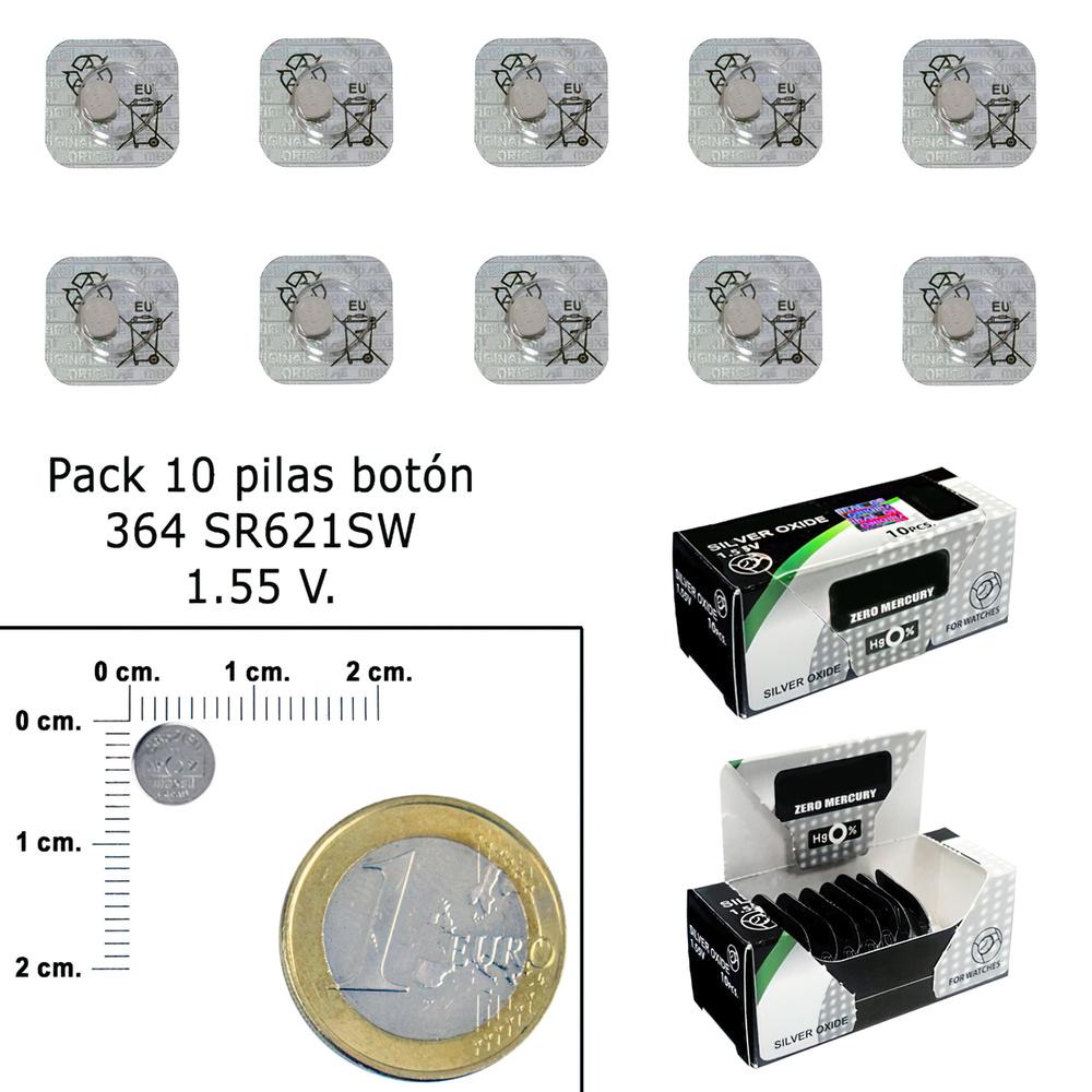 Pila Boton Oxido De Plata 364 / SR621SW (Caja 10 Pilas)