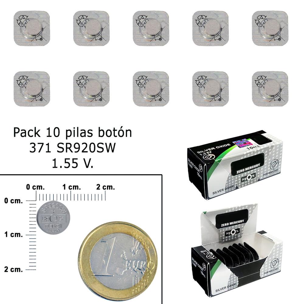 Pila Boton Oxido De Plata 371 / SR920SW (Caja 10 Pilas)