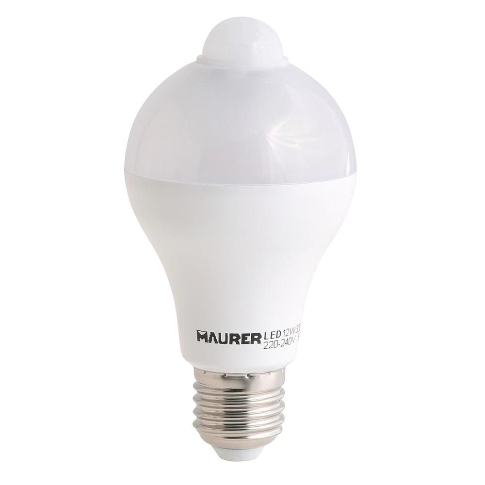 Bombilla Led Con Sensor De Movimiento 12 W. 1100 lumenes. Luz calida (3000°K).