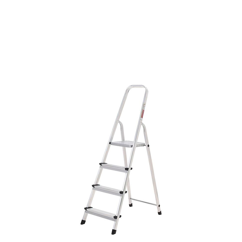 Oryx Escalera Aluminio 4 Peldaños Plegable, Uso doméstico, Antideslizante, Ligera y Resistente