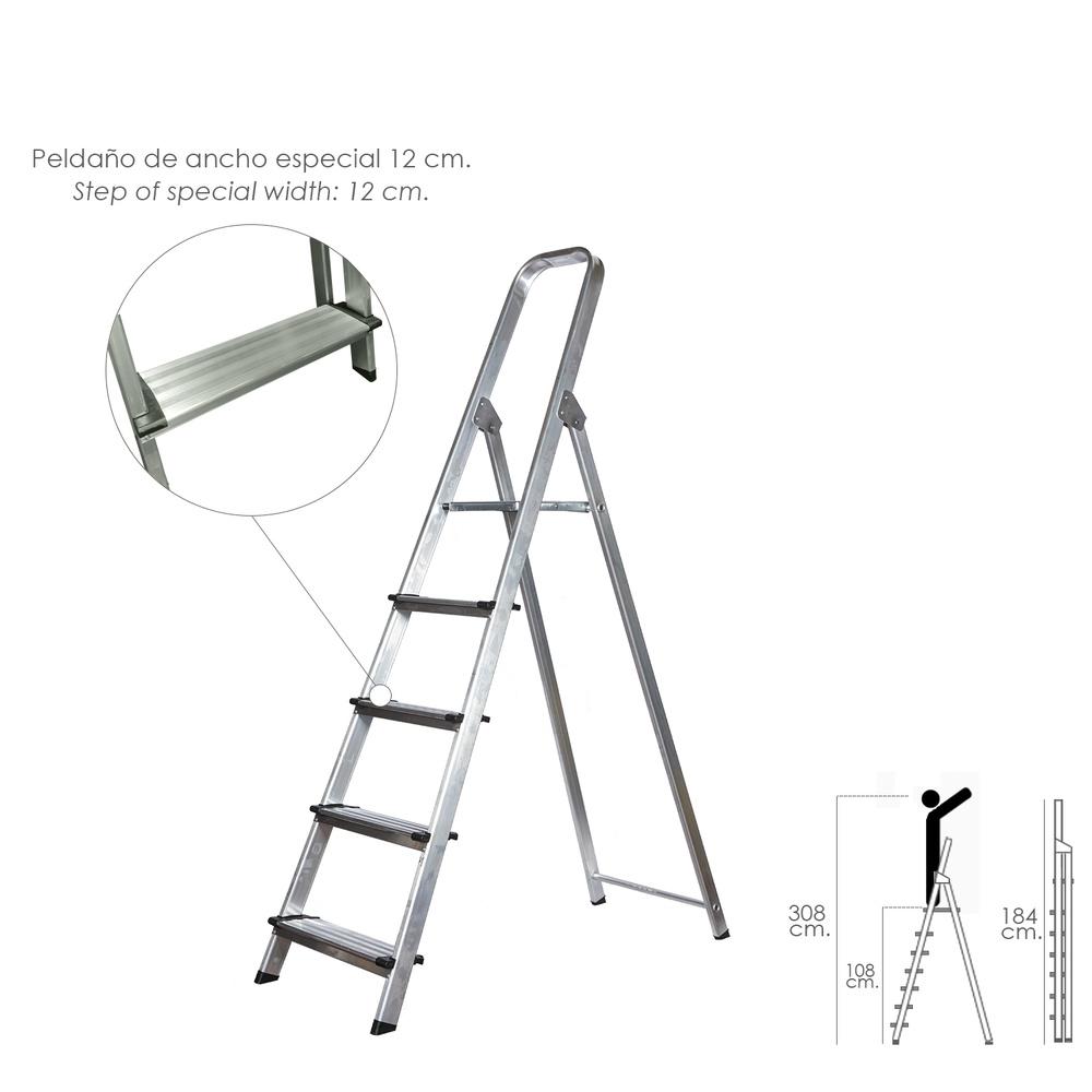 Escalera Aluminio Doméstica Profesional  5 Peldaños (Peldaño de 12 cm.)