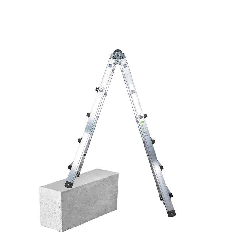 Escalera Telescópica Aluminio  3+3 Peldaños Perfil 67 mm.