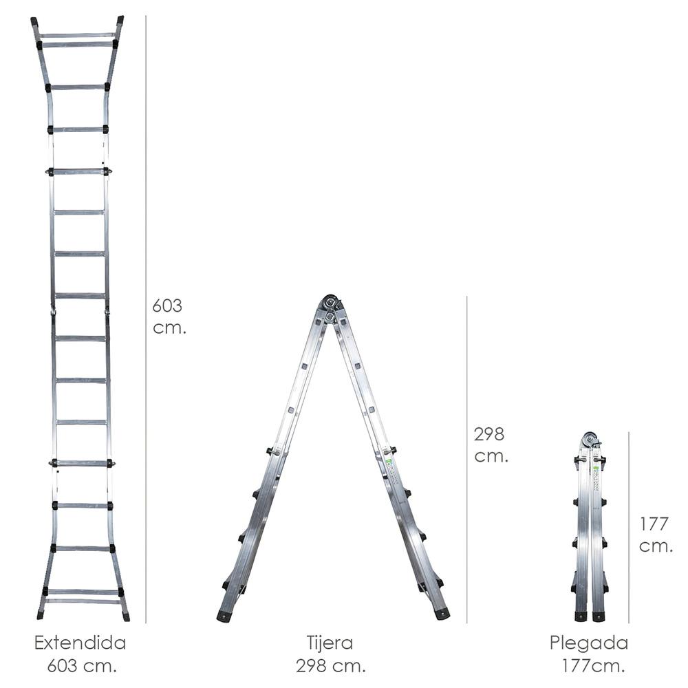 Escalera Telescópica Aluminio  6+6 Peldaños Perfil 67 mm.
